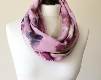 Watercolor Scarf, Infinity Scarf, Pink Floral Loop Scarf, Two Sided Scarf, Boho Pink Foulard, Print Circle Scarf, Designscope