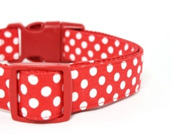 Red Polka Dot Dog Collar Girl Boy Dog Collar