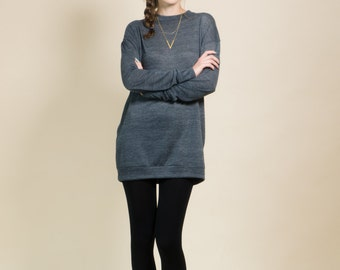 Oversize grey sweater, large tunic sweater, one size women's sweater, grey women's knit, valentine's day gift idea