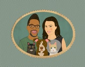 Custom family portrait with pets. Bespoke couple portrait with dogs and cats. Quirky wedding gift, wedding portrait.