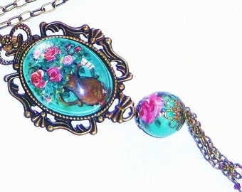 Romantic Rose Pendant Necklace Vintage Style Boho Victorian Jewelry FREE SHIPPING