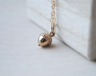 Acorn Necklace, Gold Acron Necklace, Acorn Jewelry