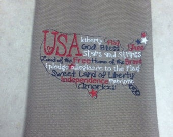 Embroidery USA Kitchen Towel - Hostess gift- Fourth of July