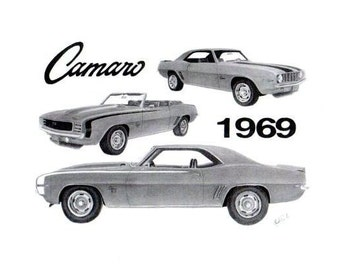 Car art Pencil drawing of 3   1969 Chevrolet Camaro