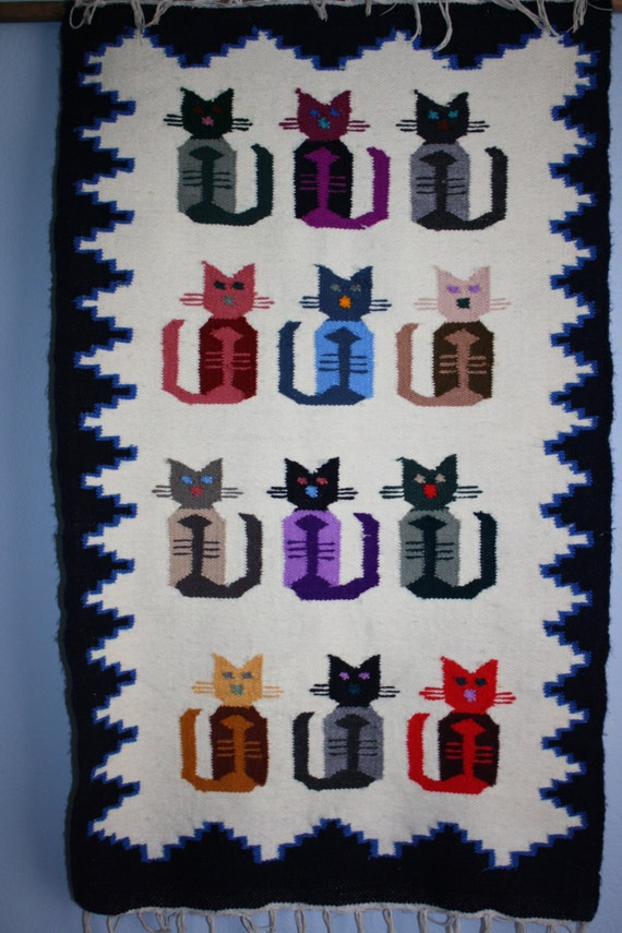 Cat Kitty Lovers Vintage Peruvian Hand Woven Cat Design Wool