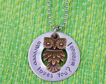 Hand Stamped Owl Necklace - whoooo loves you? meeeee! - Owl Lover Gift - Custom Necklace - Bronze Owl charm - Thoughtful Gift - Personalized