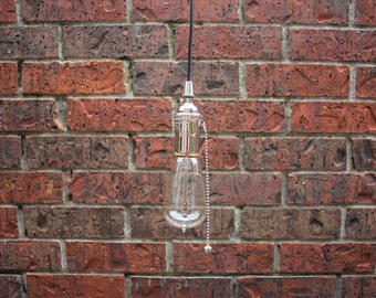 Industrial Plug In Pendant Light Chrome Bare Bulb Pull Chain Socket Edison Bulb Canopy Rayon Cloth Covered Black Wire
