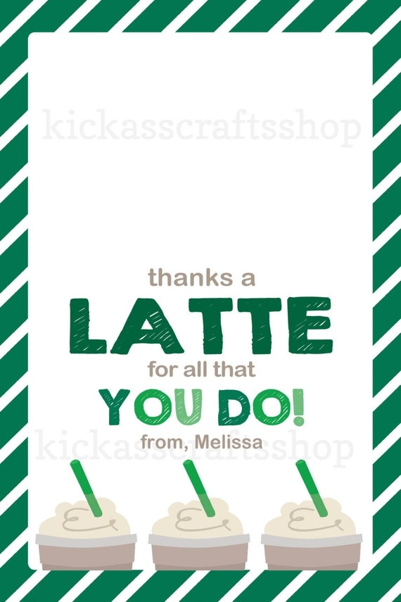 Items Similar To Printable Starbucks Inspired Thanks A: thanks for all you do gifts