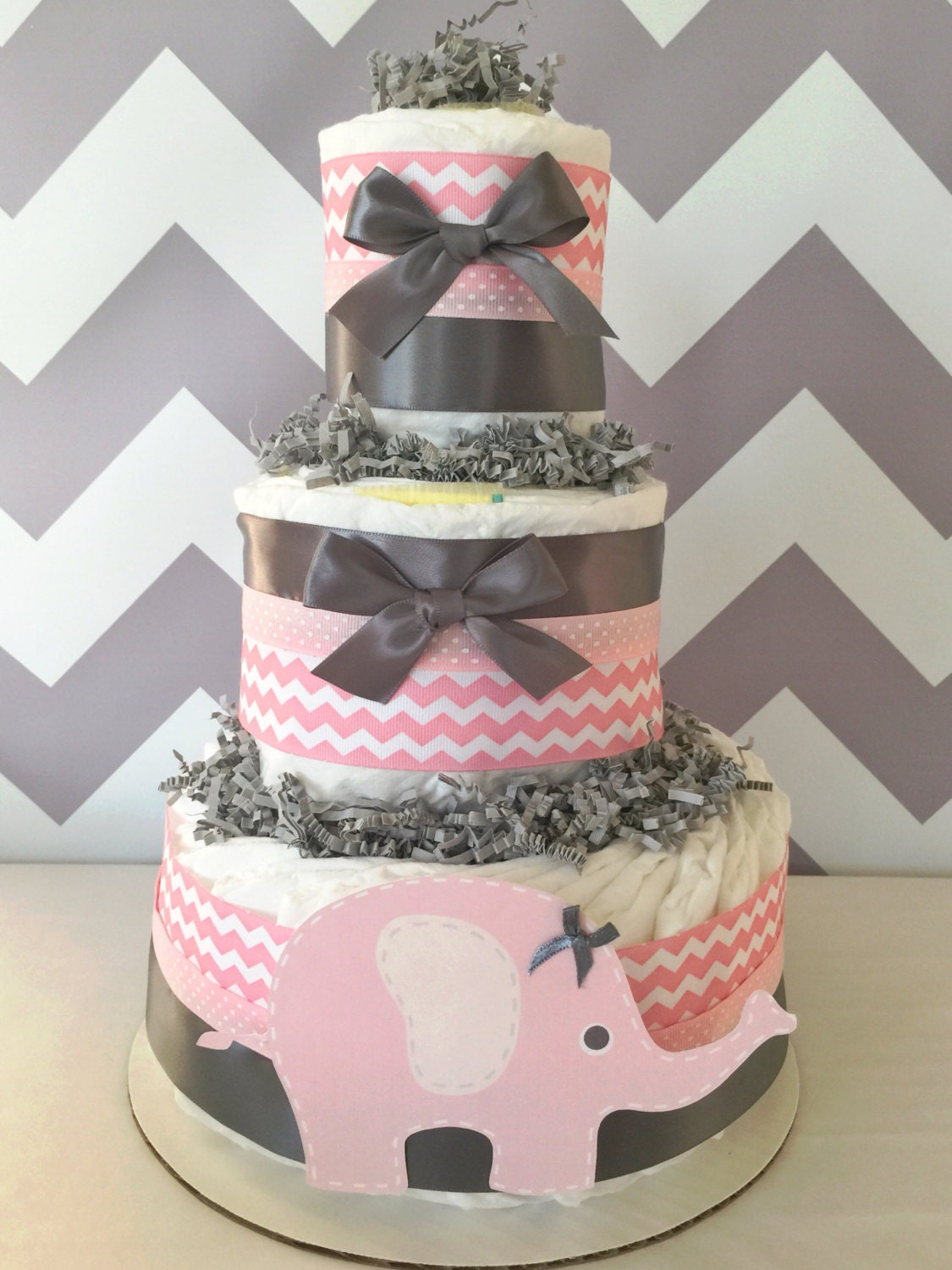 Diaper Cake Decor : Chevron Elephant Diaper Cake in Pink and Grey Elephant Baby