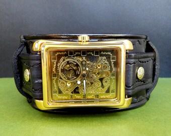 Black leather watch, Steampunk wrist watch, Leather Watch Cuff, Men's leather watch, man gift