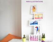 MINI ILLUSTRATIONS, small prints, small nursery, desk office art decor, abstract landscape, animal nursery, women sketch, watercolor print