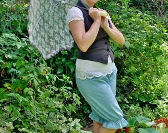 Blue Striped Bicycle Bloomers ~ Victorian Inspired