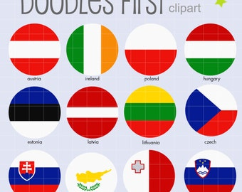 European Flags (2) Collage Sheets for Scrapbooking Card Making Cupcake Toppers Paper Crafts Digital Collage Sheet