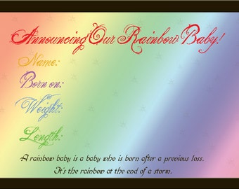 Digital birth announcement, Rainbow Baby birth announcements, rainbow baby
