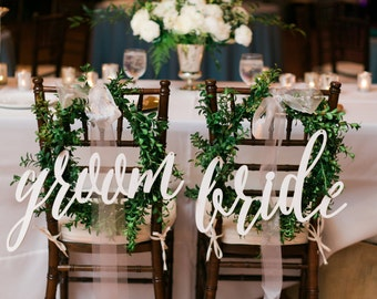 Chair Back Signs - bride and groom - Calligraphy Wedding Decor