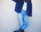 Midnight Blue Faux Fur Coat