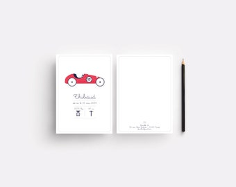 "Birth announcement ""Thibaud"", with little car"