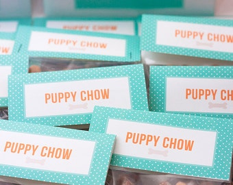 """Puppy Party Favors - """"Puppy Chow"""" Dog Goodie Treat Bag Toppers - Printable Instant Download"""