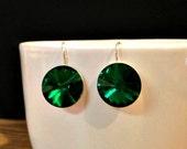 Swarovski Crystal Emerald Earrings, Green Crystal Earrings, Green Earrings, Green Tourmaline, Emerald Green Swarovski Crystal Drop Earrings