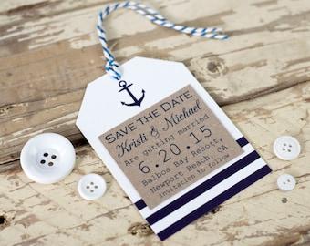 Nautical Save the Date tag, seaside wedding - rustic wedding - handmade