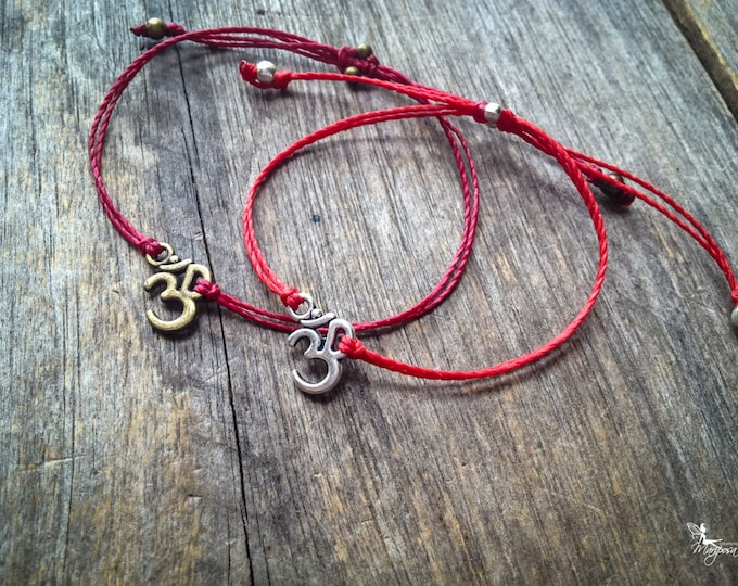 Red string bracelet Om yoga meditation crimson thread symbol luck protection evil eye boho jewelry kabbalah