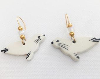 Vintage Hand Painted Seal Pup Earrings
