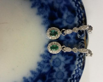 "3/4"" Estate Sterling Silver 925 Natural .60ct Emerald Genuine Diamond Earrings Pendant Studs"