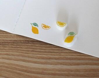 Lemon rubber stamp set of two. Fruit hand carved stamp. Handmade stamp set. Unmounted stamp. Cute stamp.