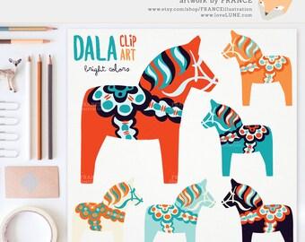 GET 3 FOR 2. Bright Dala Horse Clip Art. Traditional Nordic Folk Art Designs. Swedish Scandinavian Clipart. Dalahäst/Dalecarlian horse.
