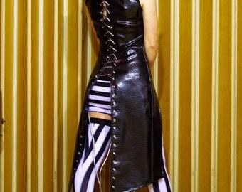 Demolished Thoughts - Gothic Long Vest Sleeveless Coat Faux Leather Jacket Steampunk Coat Women Long Coat Burning Man Vest Comicon Costume