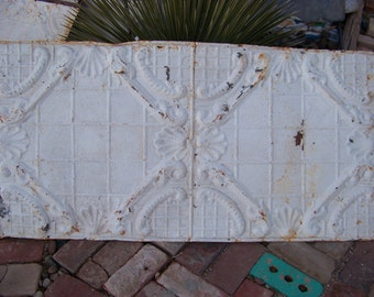 "Large, Rustic Antique Ceiling Tin 24"" x 48"" Architectural Salvage"