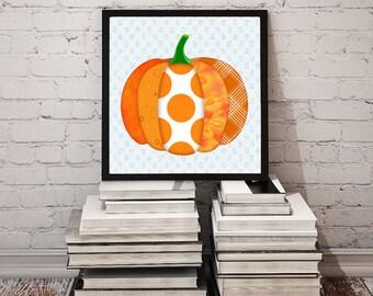 Abstract Pumpkin Art for Fall/Halloween/Thanksgiving Wall Decor * Printable Autumn Decoration, Scrapbooks, Crafts // Instant Downloadd