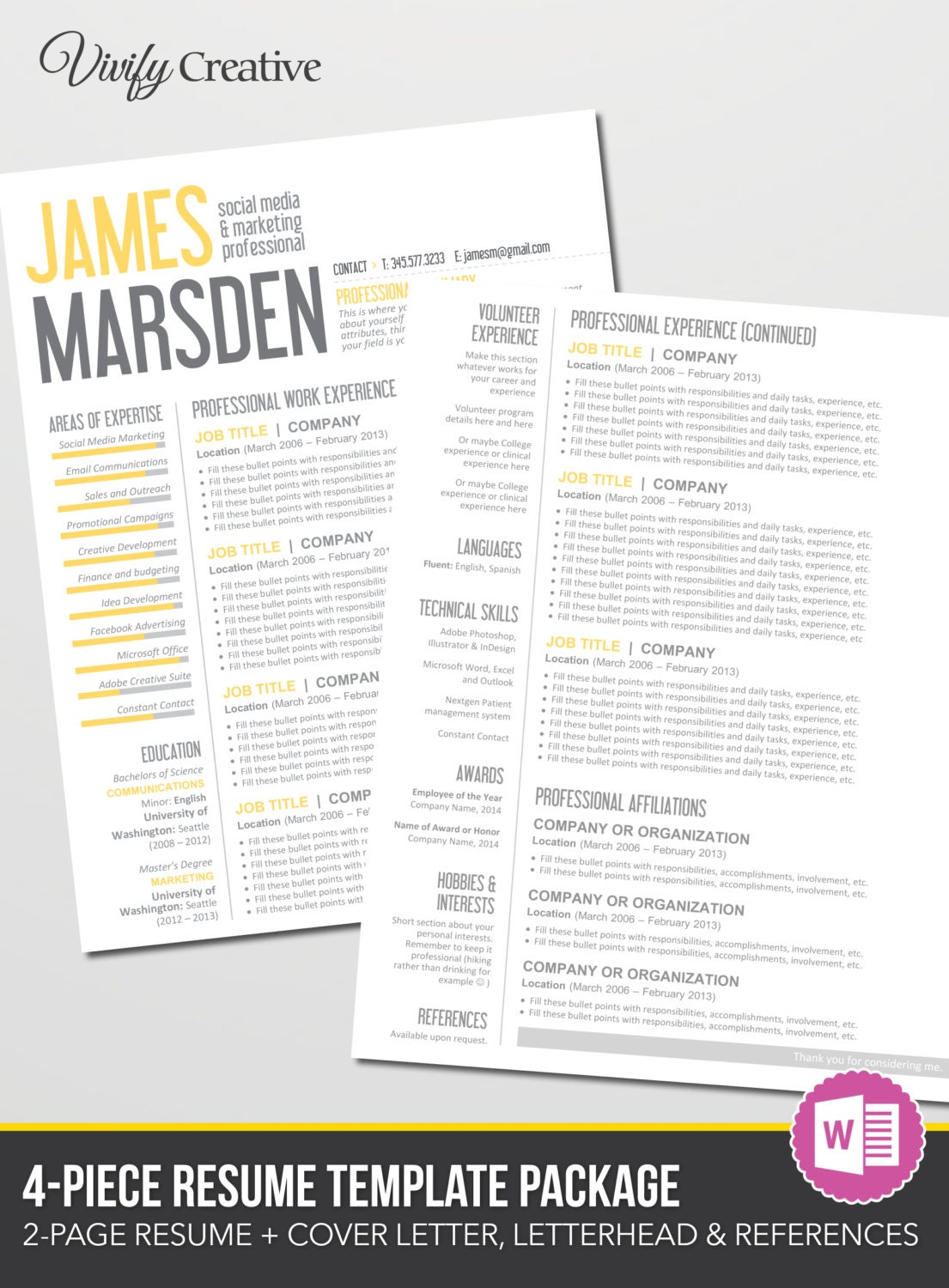 resume template download editable instant by vivifycreative