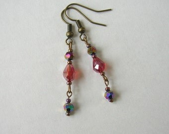 SALE!  Painting The Town Red Earrings, Red Luster Glass Beads, Antiqued Brass