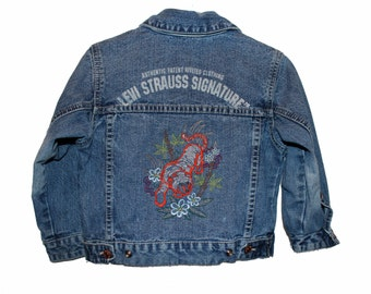Little Boy's Altered Jacket (3T) - TIger, from our CARAUT-Altered collection of upcycled denim jean clothing.