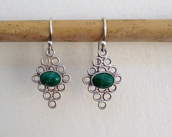 Eilat stone earrings ,  Sterling silver Eilat earrings , Geometric silver earrings , Eilat jewel , Israeli stone