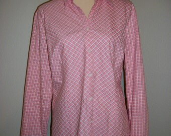 Pink Cotton Shirt Long Sleeve Womens Shirts Casual Button Up Pink Plaid Shirt Shirt Ann Taylor Size Large XL Shirt Womens Plus Size Clothing