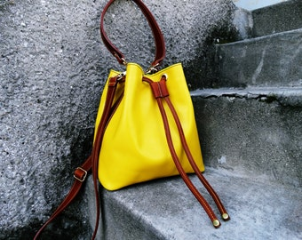 Yellow leather bag, Leather bucket bag, Leather shoulder bag