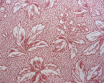 Red Floral Quilt Fabric, Timeless Treasures LENA-C 5276 Anna Lena, Karen Snyder, Red Fabric, Leaves & Berries, Christmas Fabric, OOP