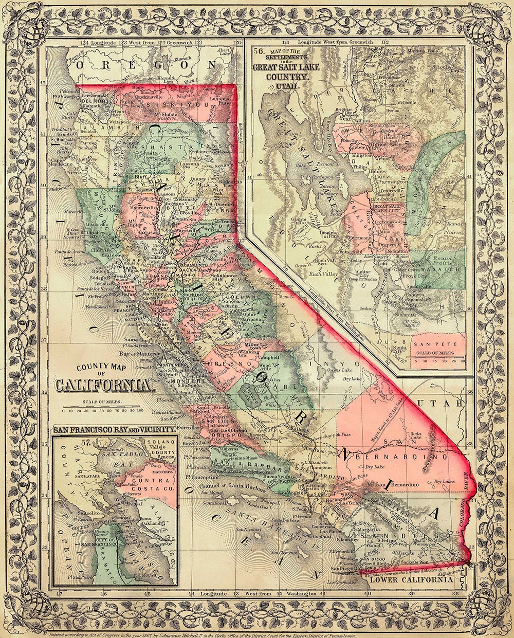 California Map Scanned Version Of Old Original Map Of The - Us map 1867