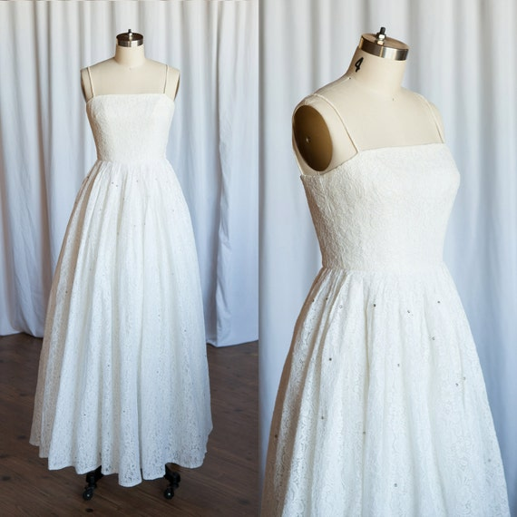 Miss puerto rico dress vintage 50s gown white lace wedding for Wedding dresses puerto rico