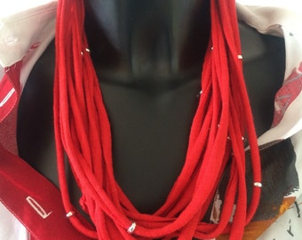 MULTISTRAND FIBER NECKLACE, Christmas gift idea, rope necklace, cottone cord necklace, gift for her, red passion, gypsy necklace