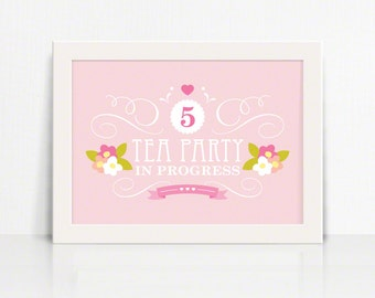 5x7 Garden Tea Party Personalized Sign for Birthday – Printable 5x7 Sign by Squawk Box Studio