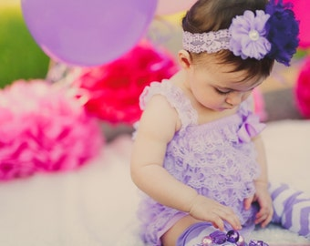 Lavender & Purple Petti Lace Romper and Headband Set,ballerina,newbornphoto prop,infant, toddler,flower girl