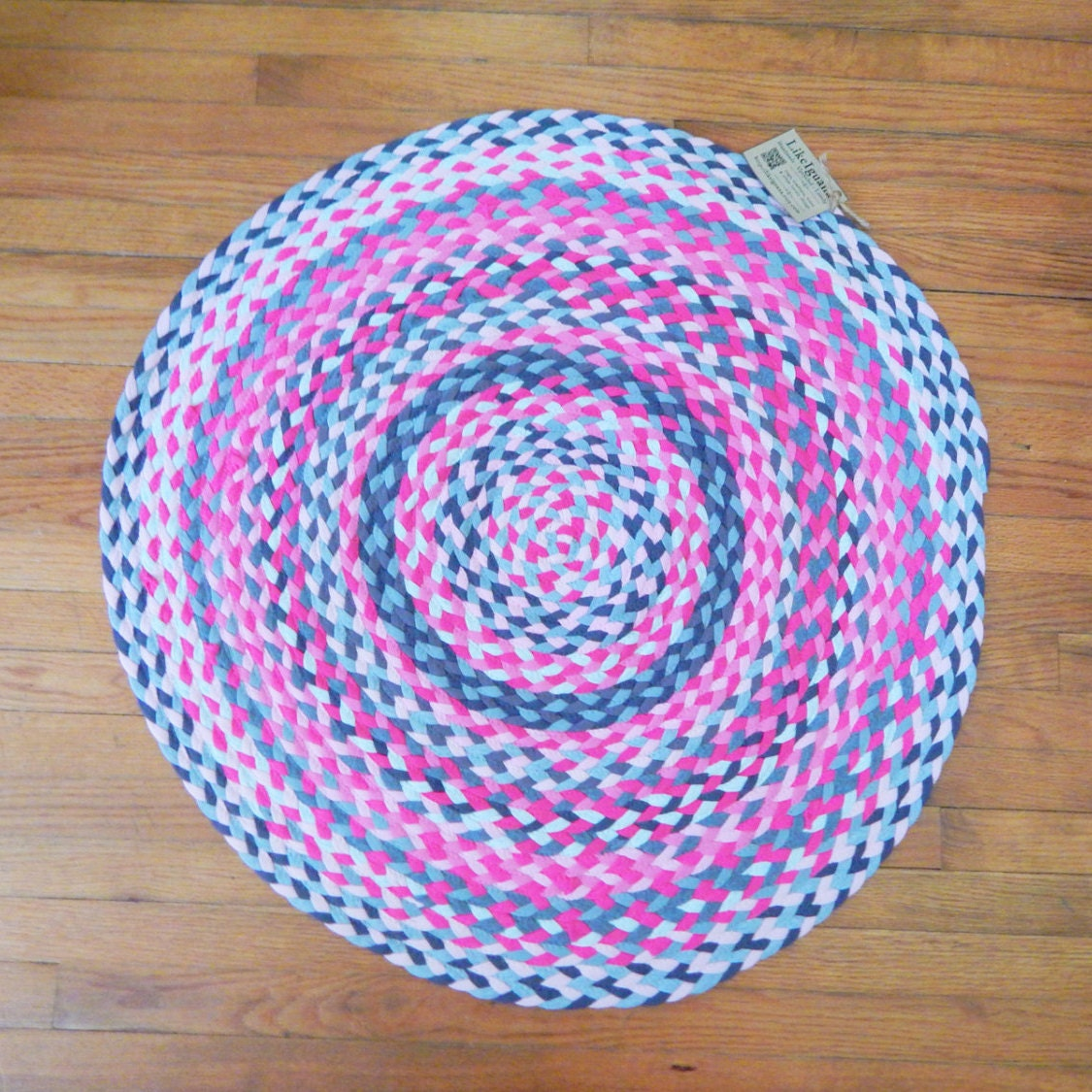 Braided Rug In Bright Pink And Grey Round Handmade Hand