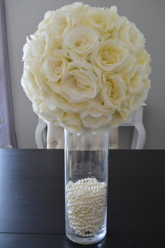 14 IVORY Cream Elegant Wedding Silk Flower Ball WEDDING