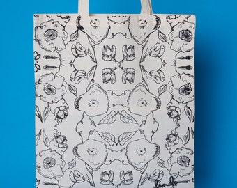 Black & White, Screen Printed, Floral Tote Bag. Hand Printed, Canvas Shopper.