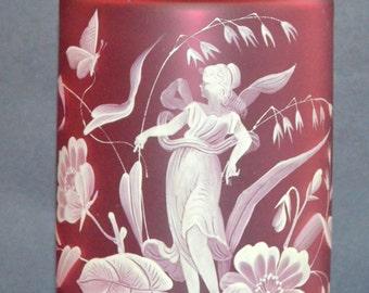 Antique BOHEMIAN Art Glass Vase Cranberry Cameo Glass Monumental Size HUGE Art Nouveau Decor