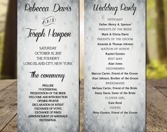 Winter Wedding Program, Modern Wedding program, Rustic Wedding Program, Printable Wedding Program, Wedding Programs instant Download