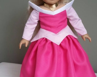 """Sleeping Beauty, Aurora's pink ball gown. 4-piece set for American Girl and other 18"""" dolls."""